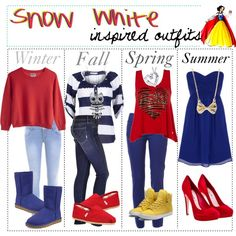 """""""Snow White inspired outfits :)"""" by shannonstyles on Polyvore"""