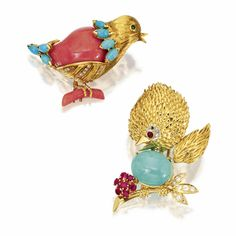 TWO GOLD, TURQUOISE, CORAL, COLORED STONE AND DIAMOND BIRD BROOCHES, VAN CLEEF & ARPELS, 1968-1969
