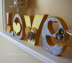 Unfinished Wood LOVE Letters Wedding Family Home Decor via Etsy