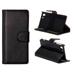 Leder zwart wallet case voor de Sony Xperia Z1