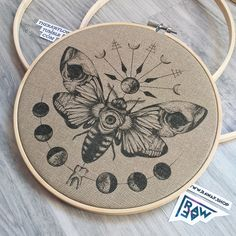 """""""The Moth"""" dotwork canvas print in embroidery frame By raw Embroidery Art, Cross Stitch Embroidery, Cross Stitch Patterns, Selling Crochet, Moth Tattoo, Fractal, Body Art Tattoos, Tatoos, Canvas Prints"""