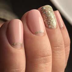 Gorgeous simple elegant gold and pink nails 2016