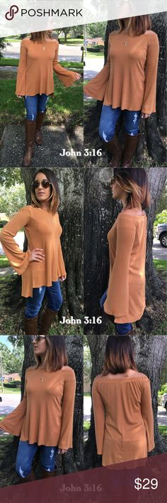 Chic long sleeve off- shoulder tops Beautiful off-shoulder tops in a great mustard color. Material is a comfy ribbed material - 96%rayon 4%spandex - Price is firm!                            Small Bust 34' Medium Bust 36' Large Bust 38' Tops
