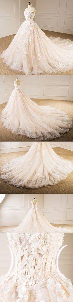 Elegant V Neckline Neckline Lace Long Tail Wedding Dresses, Custom Mad – SposaDesses