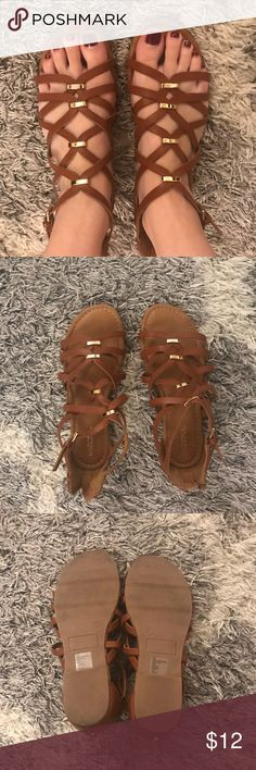 Merona Brown Sandals Worn only once (for maybe an hour), so like new! They are too small for me but super cute shoes! Merona Shoes Sandals