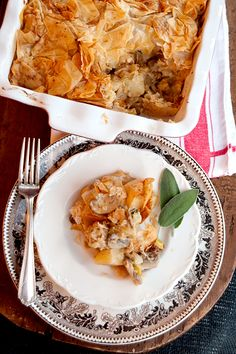 Chicken, Leek, and Mushroom Phyllo Pie
