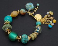 Chunky Turquoise Bracelet Gold Beaded by KarolinaLauraDesign, $39.00