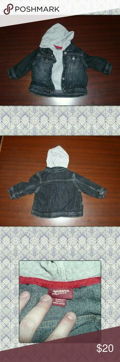 BABY JEAN JACKET! New never used Jean jacket with hoodie look sewn in! Absolutely adorable! Size 6months. Unisex Arizona Jean Company Jackets & Coats Jean Jackets