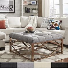 Shop for Solene Geometric Base Square Ottoman Coffee Table - Champagne Gold by INSPIRE Q. Get free shipping at Overstock.com - Your Online Furniture Outlet Store! Get 5% in rewards with Club O! - 20158170