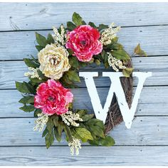 Spring Wreath Summer Wreath Pink Peony Wreath Monogram Wreath Rustic... ($80) ❤ liked on Polyvore featuring home, home decor, holiday decorations, grey, home & living, home décor, ornaments & accents, fall outdoor wreaths, outdoor holiday decorations and easter wreath