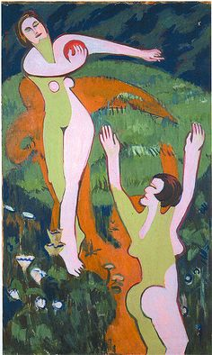 [Women Playing with a Ball], Oil on canvas, 152 x cm. by: Ernst Ludwig Kirchner was the co-founder in 1905 of Die Brucke, a group of artsists who took German art to the edge of Modernism. Ernst Ludwig Kirchner, Davos, Harlem Renaissance, Karl Schmidt Rottluff, Amedeo Modigliani, Expressionist Artists, Art Abstrait, Wassily Kandinsky, Contemporary Paintings