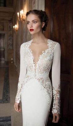 white lace long sleeve v-neck column winter wedding dress Berta Bridal
