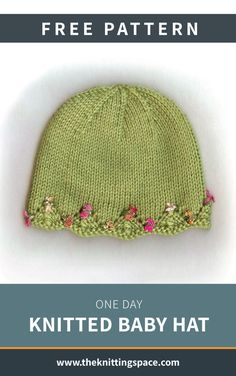 One Day Knitted Baby Hat [FREE Knitting Pattern] Craft this dainty knitted baby hat in time for the fall and winter seasons. This precious piece will make for a thoughtful handmade baby shower present Baby Hat Knitting Patterns Free, Baby Booties Free Pattern, Baby Hat Patterns, Knit Baby Booties, Baby Hats Knitting, Knitting For Kids, Knitted Baby Hats, Sock Knitting, Baby Knits