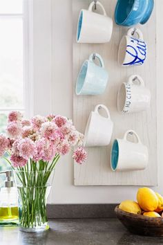 easy mug hooks with a board and nails