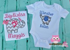 Big Sister and Little Brother set Matching Short by KenziesKloset, $46.00  Except maybe with a deer like baby T's bedding?