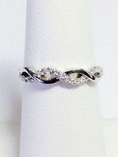 0.18CT Diamond Crisscross Band Diamonds Wedding by FineJewlers