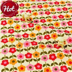 Flowers - orange & pink floral cotton fabric