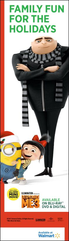 Give the gift of Minions for the holidays!  Get Despicable Me 3 with an all-new mini movie. Own it on Blu-ray, DVD & Digital.