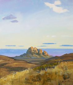 Mary Baxter, Marfa, TX, painting of Sawtooth Mountain in the Davis Mountains, Texas