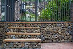 Resultado de imagen para gabion and wood fence