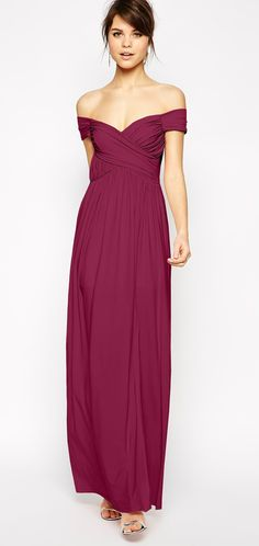 Wine colored off-the-shoulder gown