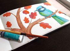 This bird finally has a treeArt Credit: Paulina Beltrán @paulinabemuCredit for the photo that inspire this illustration: Ritesh Nangare #bird #flowers #watercolor #illustration #art