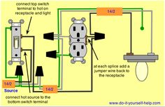 Wiring diagram receptacle to switch to light fixture . May wiring diagram receptacle to switch to light fixtureWiring Diagrams to Add a New Light Add Electrical Outlet, Basic Electrical Wiring, Outlet Wiring, Electrical Wiring Diagram, Electrical Projects, Electrical Outlets, Electrical Engineering, 3 Way Switch Wiring, Wire Switch