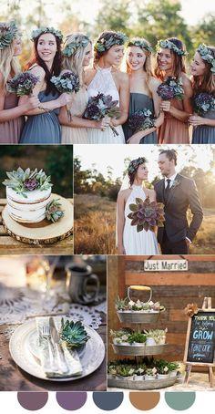 Mauve, eggplant purple and dusty blue fall wedding colors