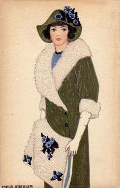 ¤ Mela Koehler fashion illustration Wiener Werkstatte postcard n° 588