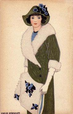 ¤ Mela Koehler fashion illustration Wiener Werkstatte postcard n° 588