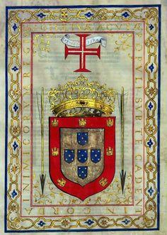 SAGITAE TUAE ACUTAE,POPULI SUB TE CADENT ET IN CORDA INIMICORUM REGIS. Portuguese royal coat of arms.