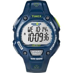 Timex Unisex T5K618 Ironman Traditional 30-Lap Shine Blue Rubber Watch
