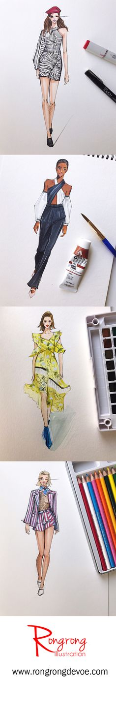 Fashion Illustrations of Anna SUi, Self Portrait, Marchesa by Rongrong DeVoe.