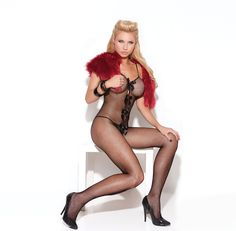 A fishnet bodystocking from Elegant Moments Vivace Collection that features a unique design on the front. The bodystocking is fishnet throughout but features a satin bow and hearts applique (layers of fabric stitched together) down the center that. Opaque Stockings, Fishnet Bodystocking, Black Fishnets, Rave Wear, Couple Halloween Costumes, Satin Bows, Clubwear, Lingerie, Spandex