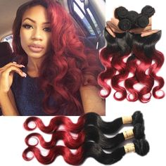Burgundy Ombre Body Wave 50g/Bundle High Quality Human Hair Extension Weaves