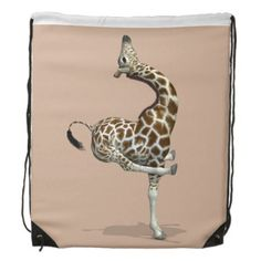 Funny Sporty Giraffe Drawstring Backpack tap to buy #pilates #accessories