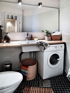 17 Top Cozy Small Laundry Room Design Ideas - Home Design - lmolnar - Best Design and Decoration You Need Laundry In Bathroom, Room Design, Basement Laundry Room, Small Bathroom Organization, Room Remodeling, Small Bathroom, Scandinavian Bathroom, Vintage Laundry Room, Bathroom Inspiration