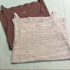 Loft Tank Bundle (2) Worn, but excellent condition. Light gray, ribbed and taupe. LOFT Tops Tank Tops
