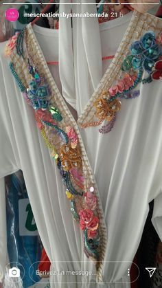 روعة تطريز...تنبات embroidery - caftan gallery Diy Fashion No Sew, Diy Fashion Hacks, Fashion Sewing, Bead Embroidery Jewelry, Beaded Embroidery, Hand Embroidery, Embroidery Designs, Couture Embroidery, Embroidery Fashion