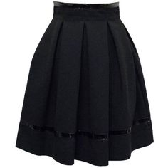 Preowned Tamara Mellon Black Patent Leather Trim Pleated Skirt ($193) ❤ liked on Polyvore featuring skirts, black, pleated skirts, pleated skirt, tamara mellon and knee length pleated skirt