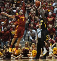 Iowa State's Abdel Nader blocks a shot by Iowa's Anthony Clemmons during the first half on Thursday at Hilton Coliseum. Photo by Nirmalendu Majumdar/Ames Tribune Iowa State Basketball, Iowa State Cyclones, Thursday