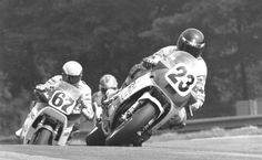 Doug Polen, riding the Kosar Racing Suzuki at the Mid-Ohio Superbike race in 1987, leads the factory Honda of Bubba Shobert, while Doug Chandler can just be seen coming up behind Shobert. (Larry Lawrence photo)