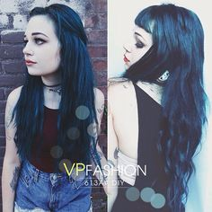 Hot Blue Hair Looks and Ideas with 613a White Blonde Extensions black blue hair colors DIY with 613a hair extensions