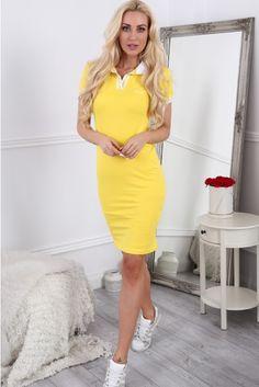 Bodycon Dress, Polo, Yellow, Dresses, Fashion, Vestidos, Moda, Body Con, Polos