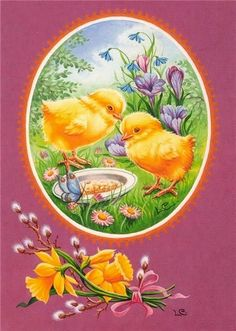 Fluffy Ducky and her beloved friend! Lots of love and warm hugs to you. Easter Egg Crafts, Easter Art, Decoupage, Vintage Easter, Vintage Valentines, Vintage Greeting Cards, Vintage Postcards, Chicken Pictures, Easter Pictures