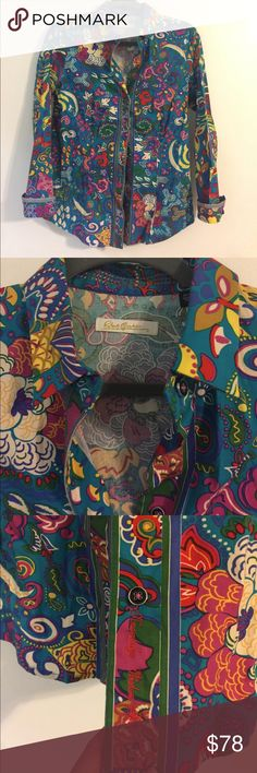 Robert Graham floral button down size M Robert Graham floral work of art with houndstooth detail. Beautiful buttons and amazing colors. Size M. Pre-owned! Worn once!!!! Robert Graham Tops Button Down Shirts