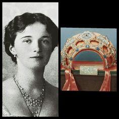 "Grand Duchess Olga Nikolaevna Romanova of Russia and her kokoshnik,created for her for the 1913 Tercentenary of the Romanov Dynasty. ""AL"""