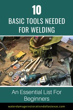 Learn the tools needed for welding- An Essential list of the basic tools you absolutely must have for metalworking and welding in the shop, garage or DIY space. Horseshoe Projects, Metal Projects, Welding Projects, Diy Projects, Mig Welding, Welding Tips, Metal Welding, Welding For Beginners, Barn Shop