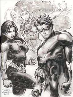 Donna Troy, Starfire and Nightwing by Freddie Williams II Comic Art
