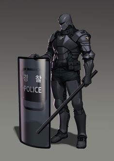 *The group handles the dral, feeling confident about their victory. In the distance, the local police were making their way over, with batons and riot shields. Fantasy Character Design, Character Design Inspiration, Character Concept, Robot Concept Art, Armor Concept, Rpg Cyberpunk, Futuristic Armour, Sci Fi Armor, Future Soldier